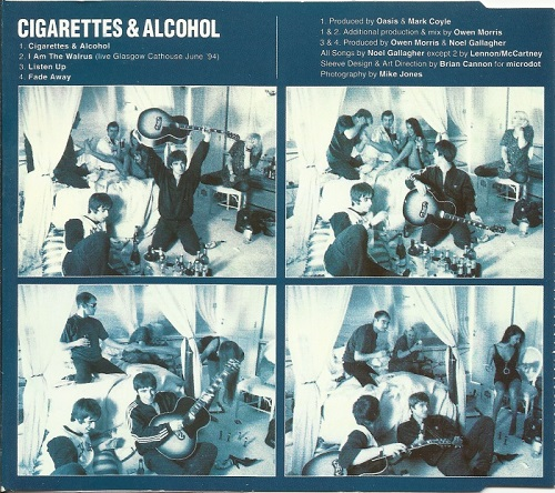 Cigarettes and Alcohol Single Oasis Britpop Tuesday Lyiquediscorde Single Sleeve